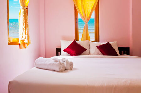 Bedroom at beauty beach in Thailand photo