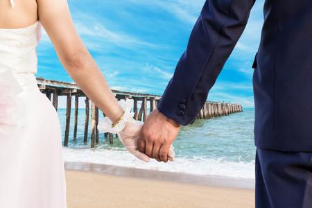 Wedding at clean beach in Thailand photo