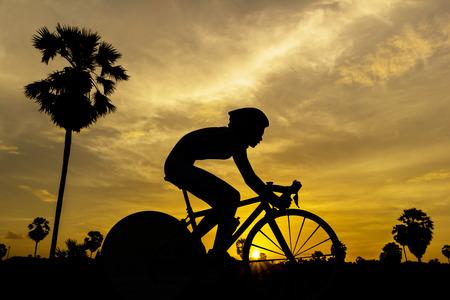 Women triathlon game on twilight time in Thailand photo