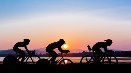 Cycling on twilight time at mountain beach view Stok Fotoğraf