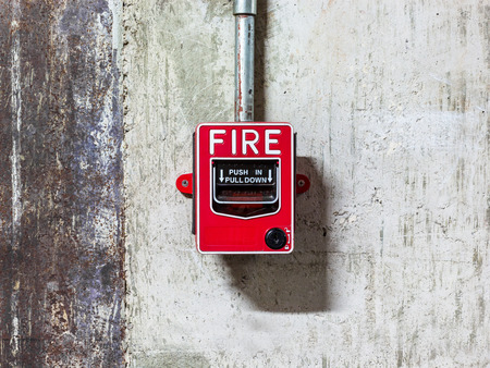 fire protection: Fire alarm push botton equipment in old factory