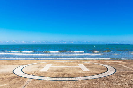helideck: Helideck for helicopter landing at beach on summer season Stock Photo