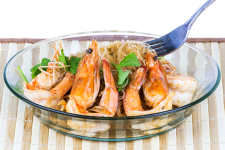 vermicelli: shrimp baked with vermicelli from Thailand Asia Stock Photo