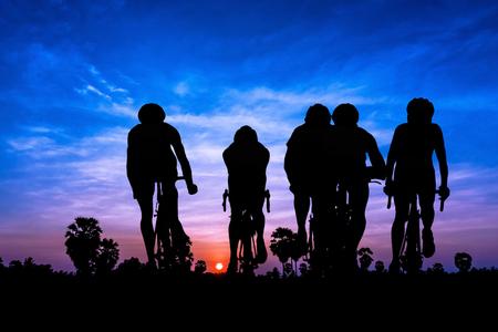 Triathlon sport at mountain on twilight time