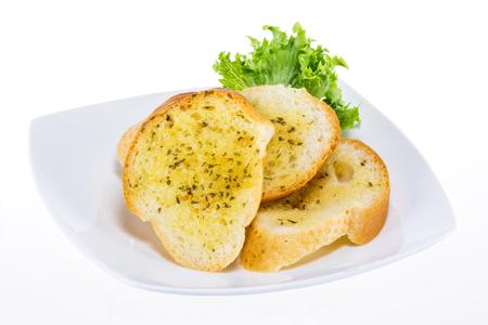 Garlic bread testy snack on white plate