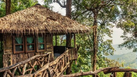 Treehouse at beauty national park with mountain in Thailand Asia
