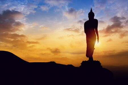 Statue at hill mountain on twilight time in Thailand Asia