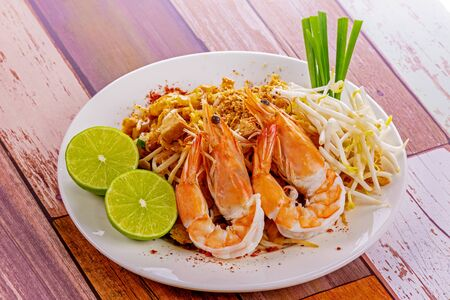 Padthai with shrimp tasty food from Thailand Asia