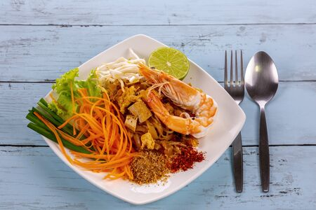 Pad thai with shrimp tasty food from Thailand Asia