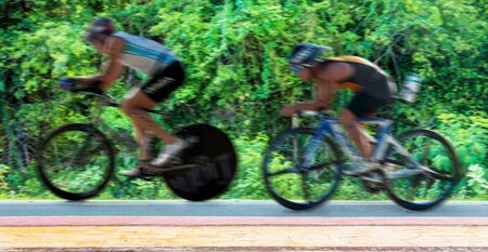 People cycling triathlon on weekend Stok Fotoğraf
