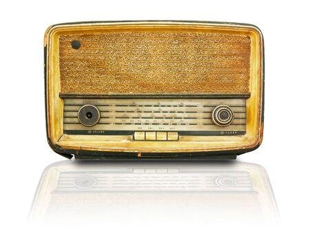 Old radio isolate on white background