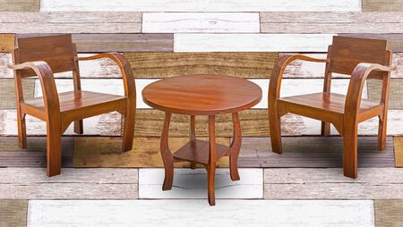 Table and chair furniture on wooden background