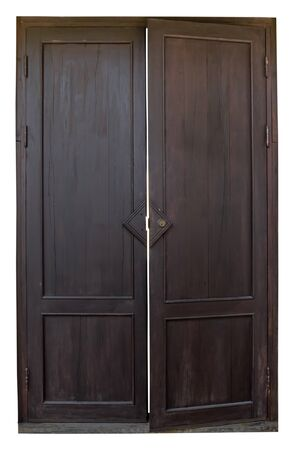 Wooden door with frame structure opening Фото со стока