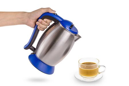 Electric pot with coffee cup isolate on white background