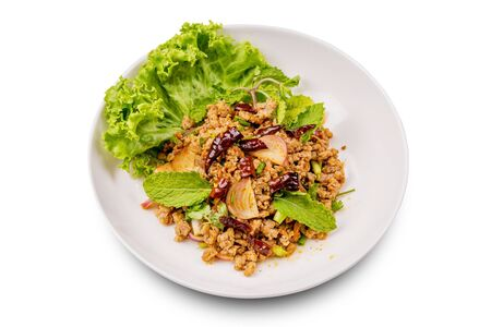 Spicy minced pork salad on white background