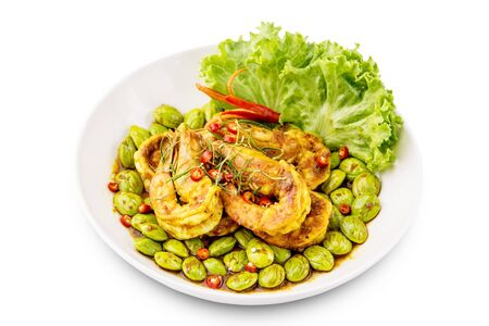 Fried sato with prawn spicy Thai food isolated on white