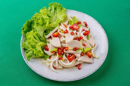 Spicy Vietnamese sausage salad tasty street food