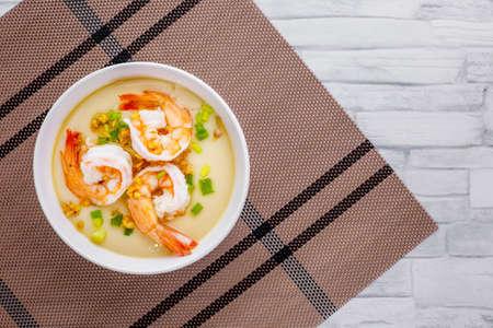 Steamed eggs with shrimp tasty Asian cuisine on marble background Stock Photo