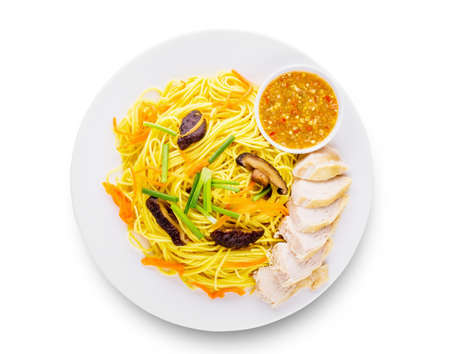 Fried vegetarian shou noodles Asia cuisine on white background with clipping path