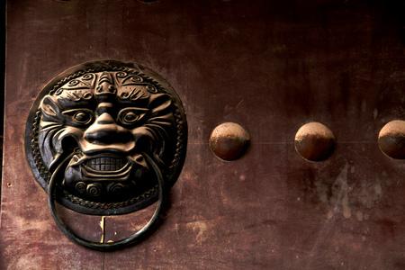 knocker: Lion's head door knocker