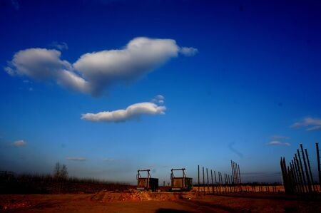 float cloud: Blue sky and white clouds Stock Photo