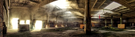 airsoft: abandoned factory, interier, airsoft arena