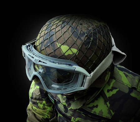 robustness: airsoft soldier, view from above on the upper body camouflage pattern 95 from the Czech Republic