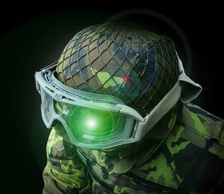 robustness: abstract airsoft soldier, view from above on the upper body camouflage pattern 95 from the Czech Republic Stock Photo