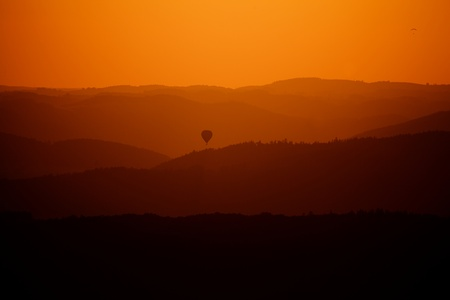hotair: the Hot-air Balloons over forests, Summer sunset Landscape Stock Photo