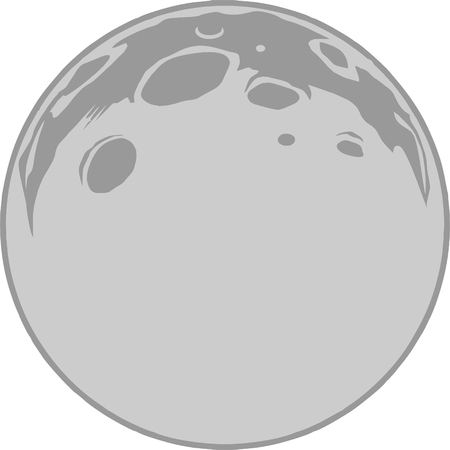 Full Moon vector format, grayscale clipart