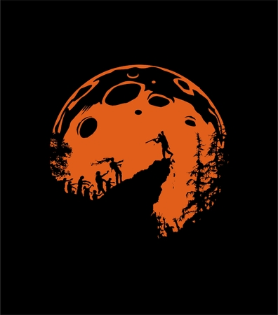 himself: zombie silhouette scenery, zombies run up the hill, the last man defends himself with a shotgun, orange moon background Illustration
