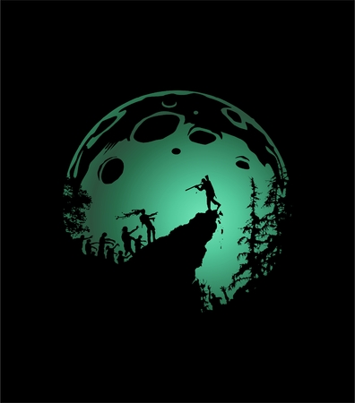 himself: zombie silhouette scenery, zombies run up the hill, the last man defends himself with a shotgun, shaded green moon background Illustration