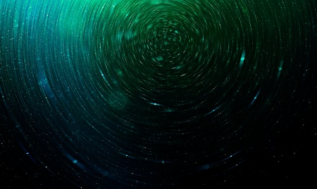 summaries: Green Abstract science fiction futuristic background, blurred stars in space