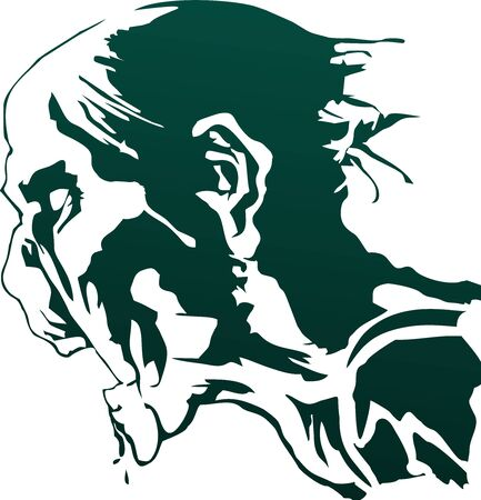 hungry zombie head silhouette vector, undead bitmap