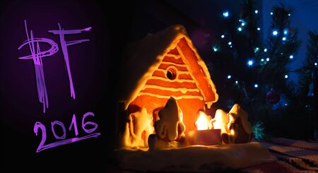 scratchboard: PF 2016 Christmas gingerbread house, new year card, handwriting Scratchboard type font, purple style Stock Photo