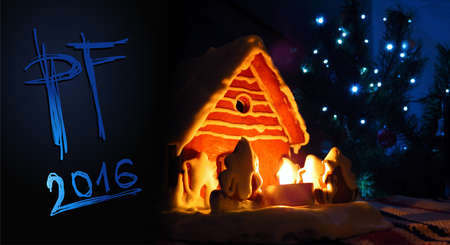 scratchboard: PF 2016 Christmas gingerbread house, new year card, handwriting Scratchboard type font, blue style
