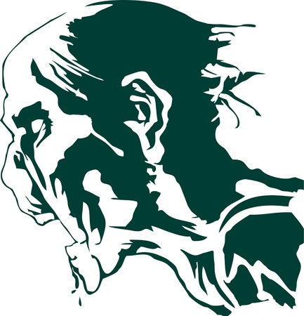 hungry: the hungry zombie head silhouette vector, undead Illustration