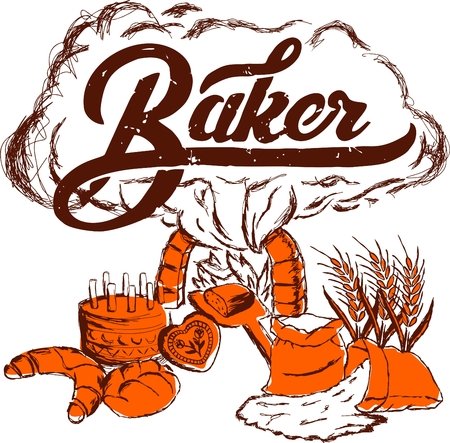 gingerbread cake: Vector baker logo, cake, gingerbread, rolls, buns, bread, flour symbol. Scratchboard illustration style