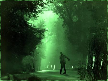 zombie spaventoso orrore in piedi nel paesaggio notturno, sfondo verde, vecchia fotografia effetto
