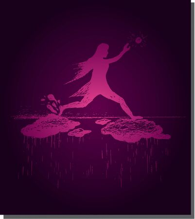 going down: Girl jumps on clouds and sun going, down rain, purple vector illustration