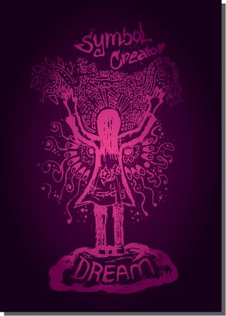creador: l�nea p�rpura del vector ilustraci�n de mano de la mujer encima de bosquejo creador