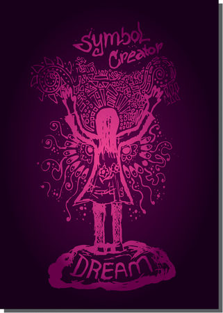 the creator: Purple vector line illustration woman hand up creator sketch