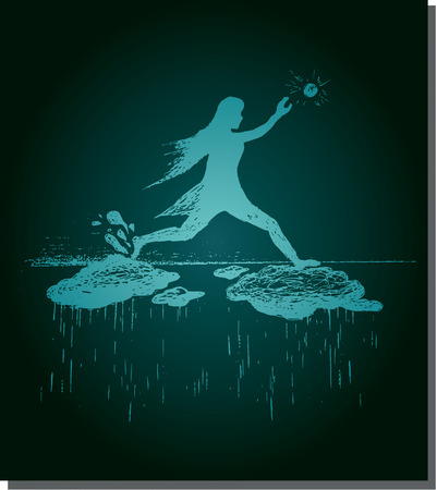 Girl jumps on clouds and sun going, down rain, blue vector illustration