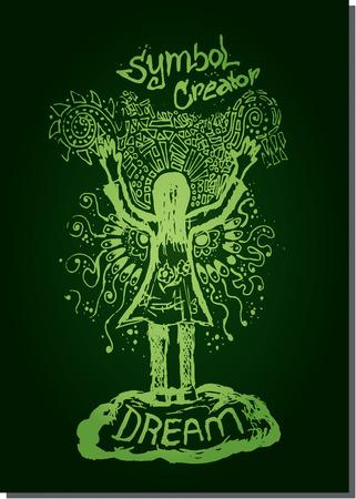 Green vector line illustration woman hand up creator sketch