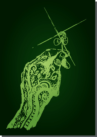 tattooed: Green Dream tattooed hand holding a four leaf clover, lucky to reach, vector illustration