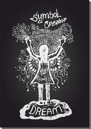 the vector line illustration woman hand up creator sketch Ilustração