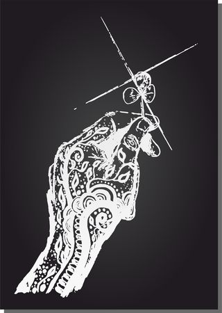 tattooed: Dream tattooed hand holding a four leaf clover, lucky to reach, vector illustration