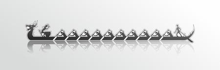 vector afbeelding van een draak boot in actie, zwart-witte sticker stijl op een witte achtergrond, drakenboot die in grijs water