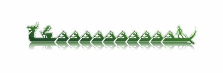 bateau de course: illustration vectorielle d'un bateau-dragon dans l'action, les tons de vert style autocollant sur fond blanc, bateau-dragon se reflétant dans l'eau