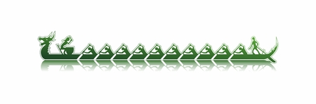 vector illustration of a dragon boat in action, shades of green sticker style on white background, dragon boat reflecting in water